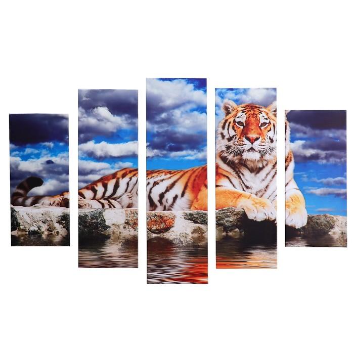 """Модульная картина на подрамнике """"Тигр у воды"""", 2 шт. — 53×16 см, 2 шт. — 70×24 см, 1 шт. — 80×34 см, 120×80 см"""
