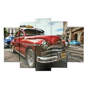 """Картина модульная на подрамнике """"Ретро автомобиль"""" 120х80 см (2-24х53, 2-24х70, 1-24х80)"""