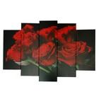 """Модульная картина на подрамнике """"Красные розы"""", 2 — 53×16, 2 — 70×24, 1 — 80×34, 120×80 см"""