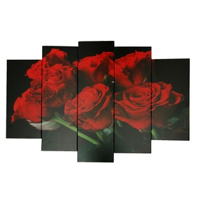 """Картина модульная на подрамнике """"Красные розы"""" 120х80 см (2-24х53, 2-24х70, 1-24х80)"""
