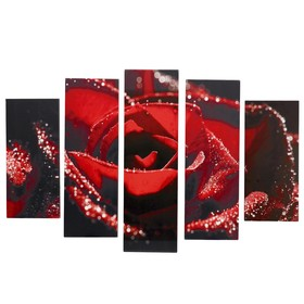 """Картина модульная на подрамнике """"Красная роза"""" 2-53х16, 2-70х24, 1-80х34; 120х80см"""