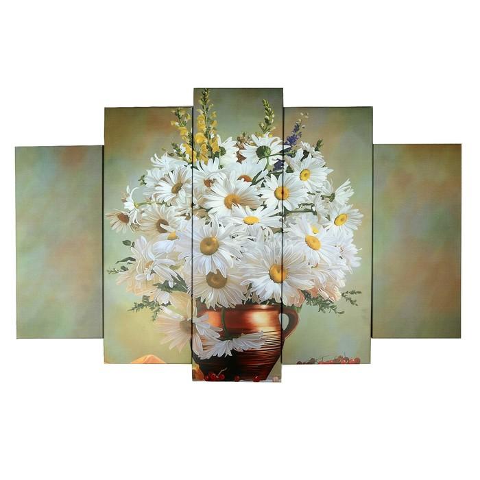 """Модульная картина на подрамнике """"Букет ромашек"""", 2 — 53×16, 2 — 70×24, 1 шт. — 80×34, 120×80 см"""