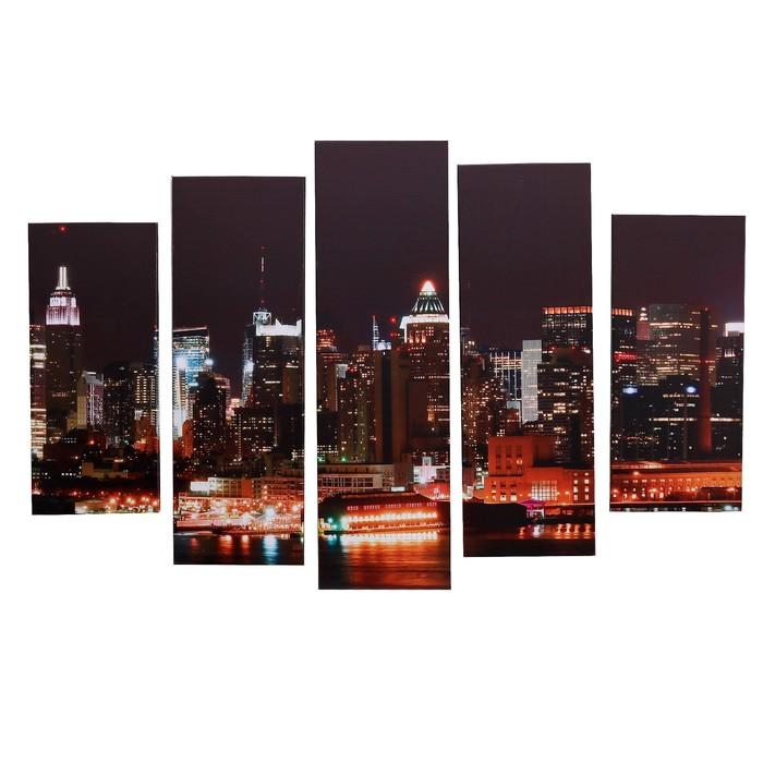 """Модульная картина на подрамнике """"Ночной Нью-Йорк"""", 2 — 53×16, 2 — 70×24, 1 — 80×34, 120×80 см"""