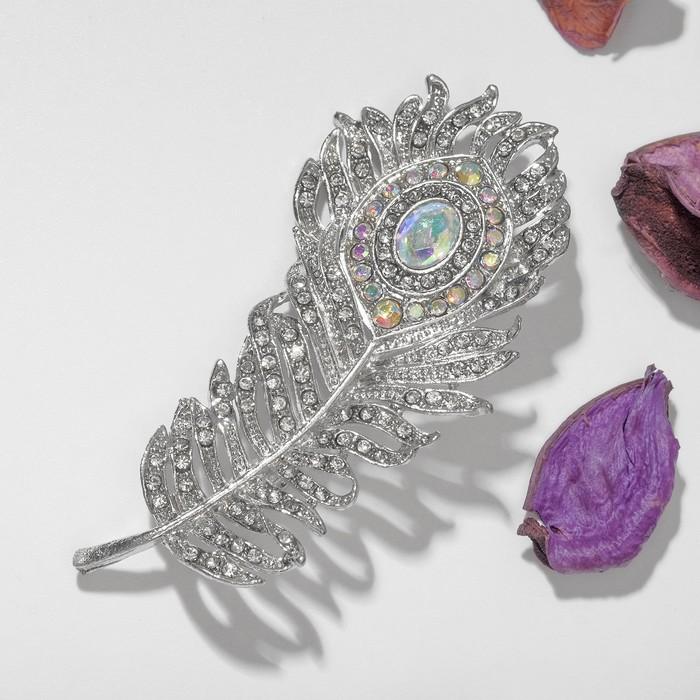 """Брошь """"Перо павлинье"""", цвет радужный в серебре"""
