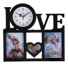 """Часы настенные, серия: Фото, """"Love"""", 3 фоторамки, черные, 36х34 см"""