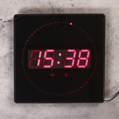 Часы настенные электронные с термометром и будильником, красные цифры 32х32х3 см