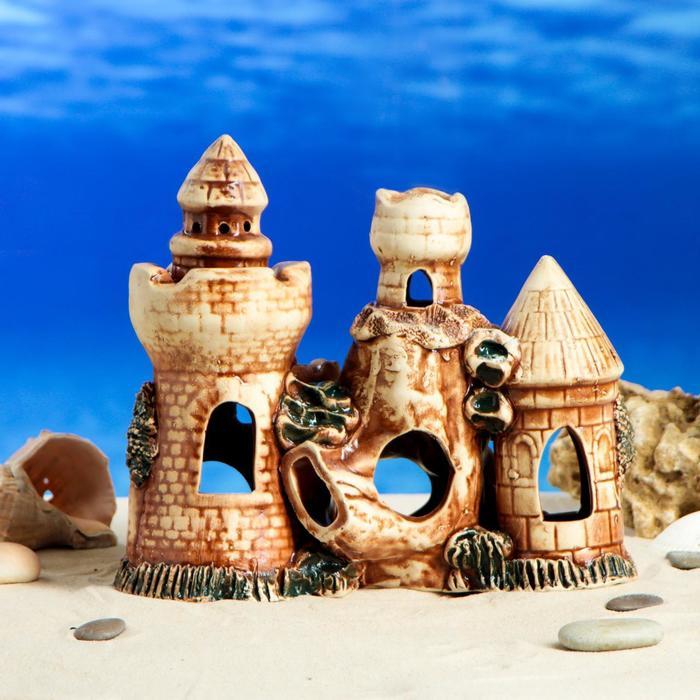 "Декорации для аквариума ""Пять башен на гроте"" микс"