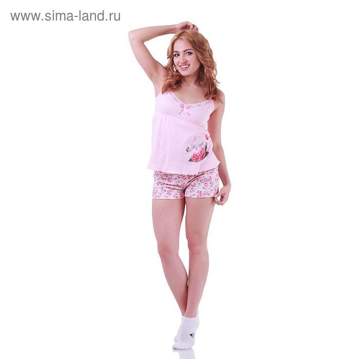 Пижама женская Цветочная 220741 пудра, р-р 44