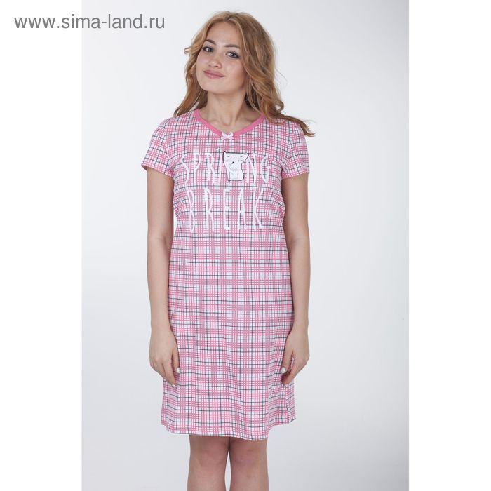 """Сорочка женская """"Клетка-сетка"""", цвет розовый, рост 158-164 см, размер 56 (арт. Р308068)"""