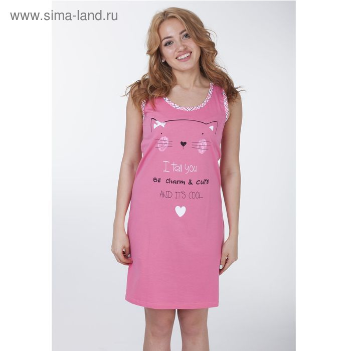 """Сорочка женская """"Кисуля"""", цвет розовый, рост 158-164 см, размер 48 (арт. Р308069)"""