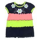 """Платье для девочки """"Три цветочка"""", рост 110-116 см (30), цвет тёмно-синий/карамель/лимонный"""