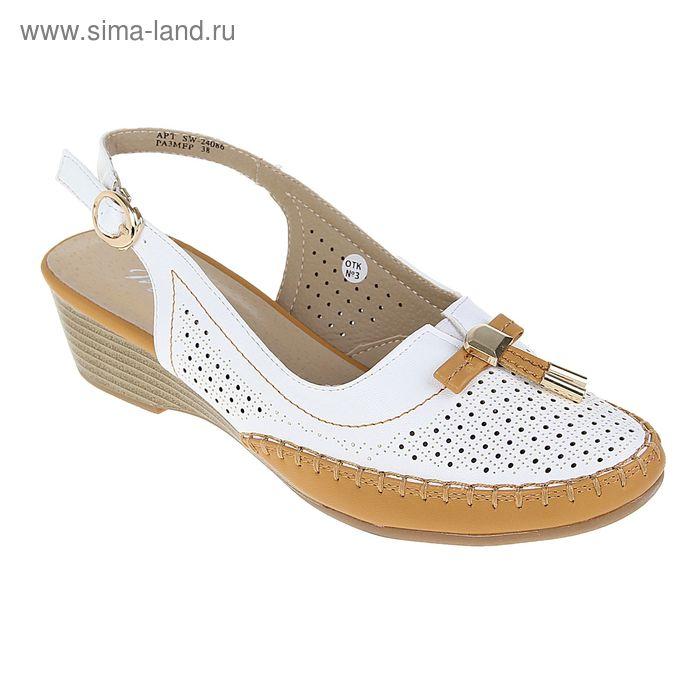 Туфли открытые женские, цвет белый, высота каблука 5 см, размер 38 (арт. SW-24086)