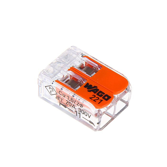 Клемма WAGO 221-412, двухпроводная, сечением 4 мм2, с рычажком, набор 100 шт.