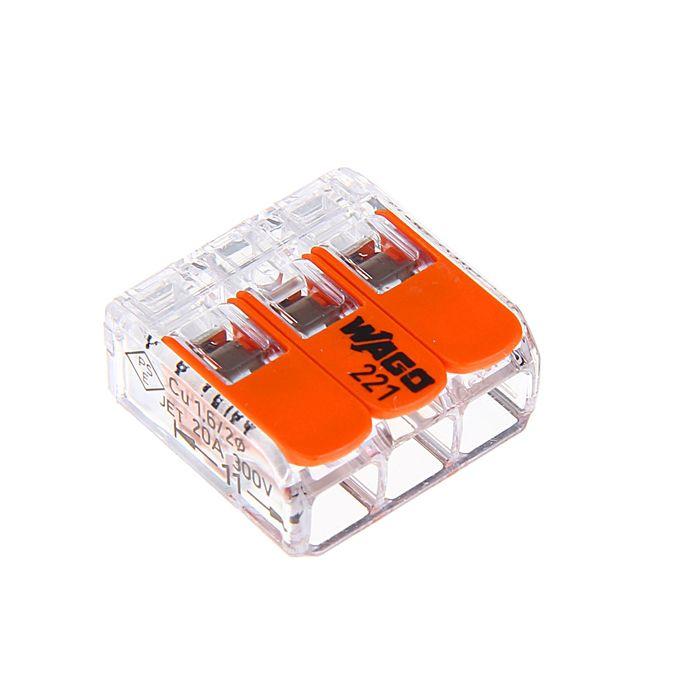 Клемма WAGO 221-413, трехпроводная, сечением 4 мм2, с рычажком, набор 50 шт.