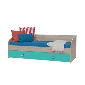 Кровать односпальная с двумя ящиками СИТИ 2045*850*735 Дуб сонома/Аква