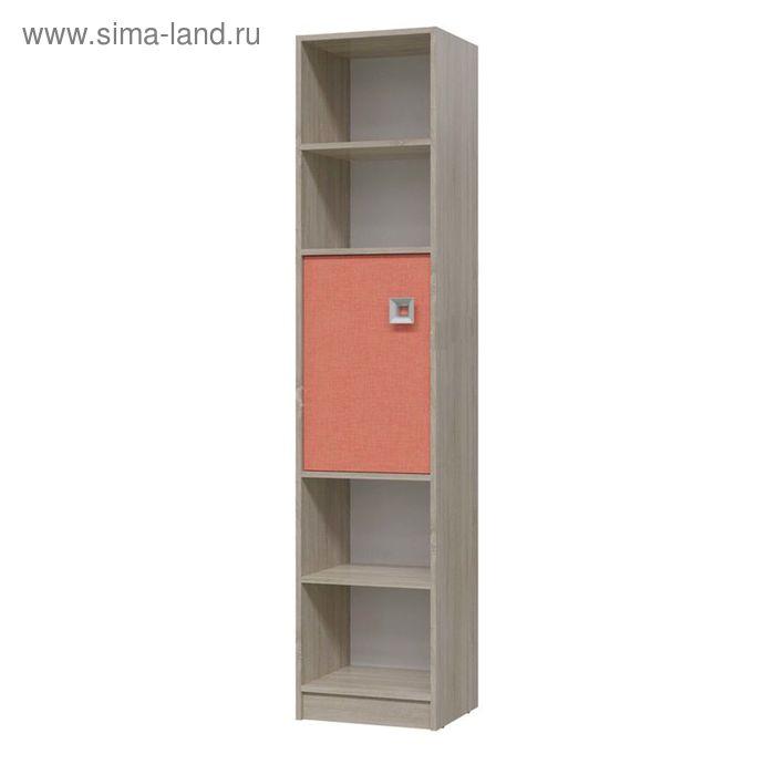 Шкаф стеллаж с дверкой СИТИ 410*355*1905 Дуб сонома/Коралл