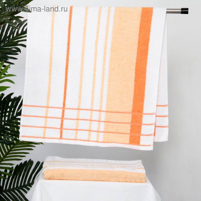 Полотенце махровое BERLIN Streifen, размер 50х100 см, 470 г/м2, цвет белый/персиковый