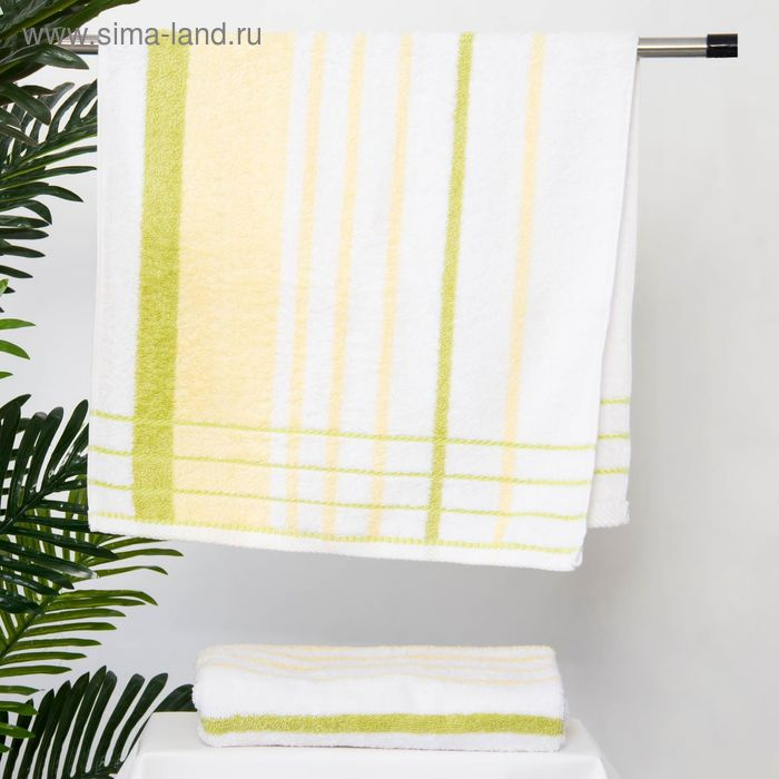 Полотенце махровое BERLIN Streifen, размер 50х100 см, 470 г/м2, цвет белый/жёлтый/салат