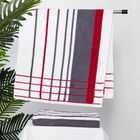 Полотенце махровое BERLIN Streifen, размер 50х100 см, 470 г/м2, цвет белый/серый/красный