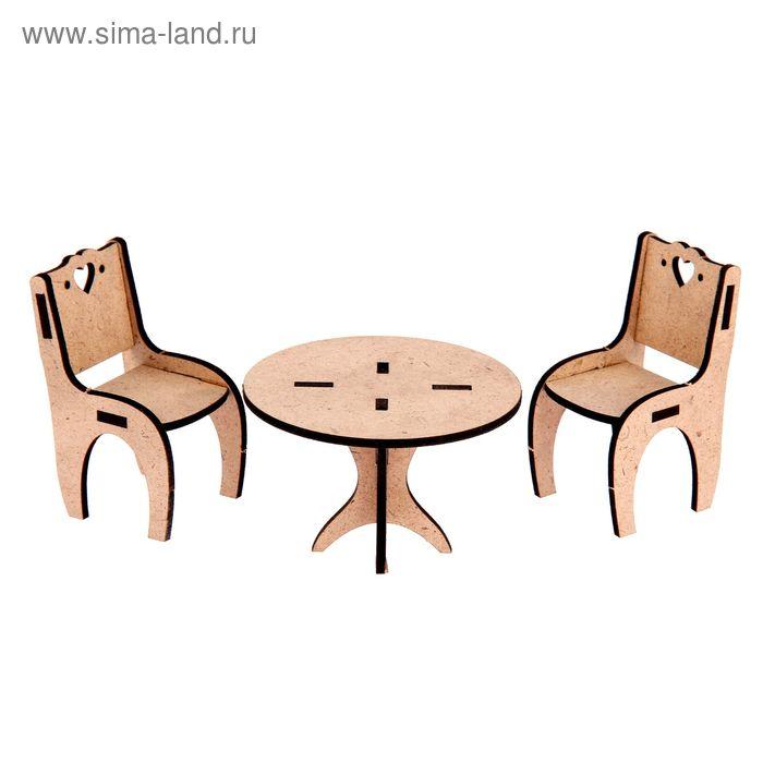 "Заготовка для творчества ""Столовая для кукольного домика"" (стол 8,5х6 см, стулья 4,5х5,5х8,5 см)"
