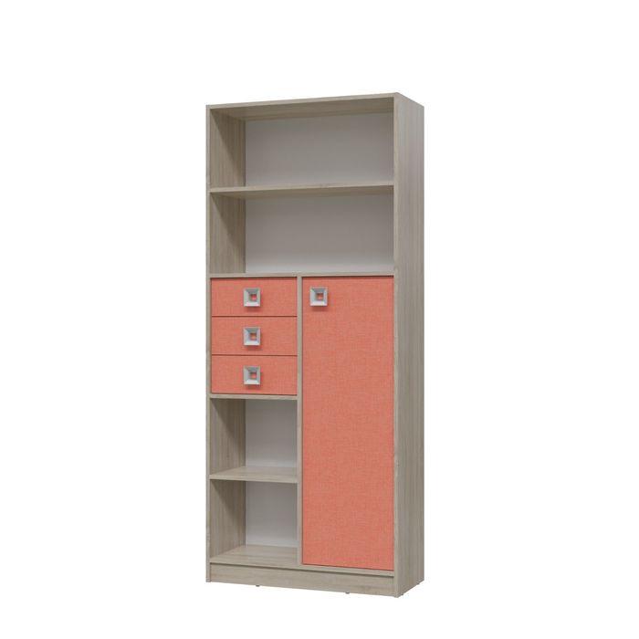 Шкаф стеллаж с дверкой и ящиками СИТИ 800*355*1905 Дуб сонома/Коралл