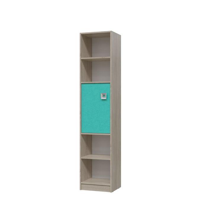 Шкаф стеллаж с дверкой СИТИ 410*355*1905 Дуб сонома/Аква