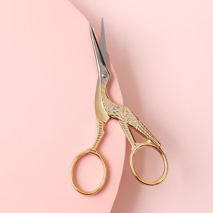 Ножницы для вышивки «Цапельки», 11 см, цвет золотой