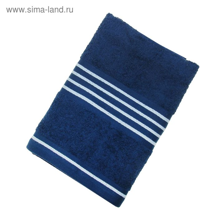 Полотенце махровое Rio-Uni vollfarbig, размер 50х100 см, 500 г/м2, цвет тёмно-синий/белый