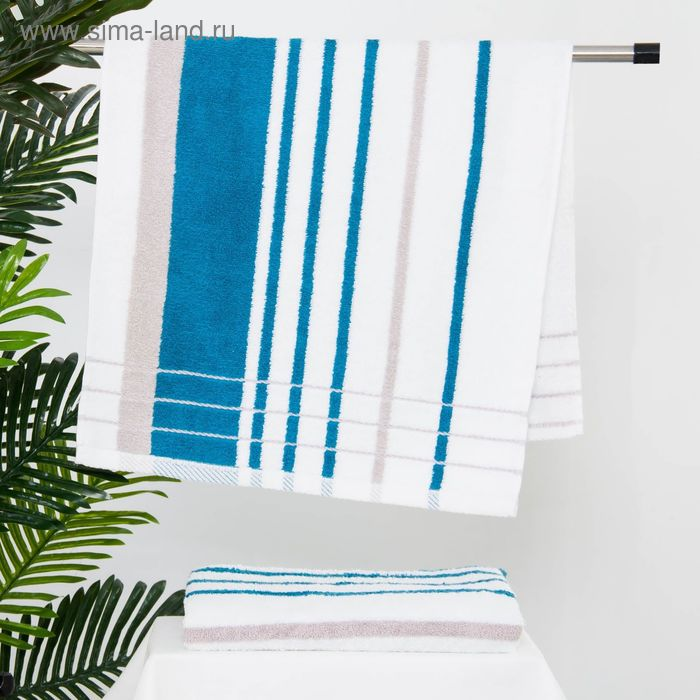 Полотенце махровое BERLIN Streifen, размер 50х100 см, 470 г/м2, цвет белый/морская волна/серый