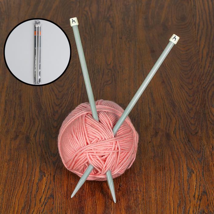 Спицы для вязания, прямые, d = 10 мм, 35 см, 2 шт
