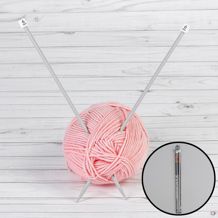 Спицы для вязания, прямые, d = 6 мм, 35 см, 2 шт