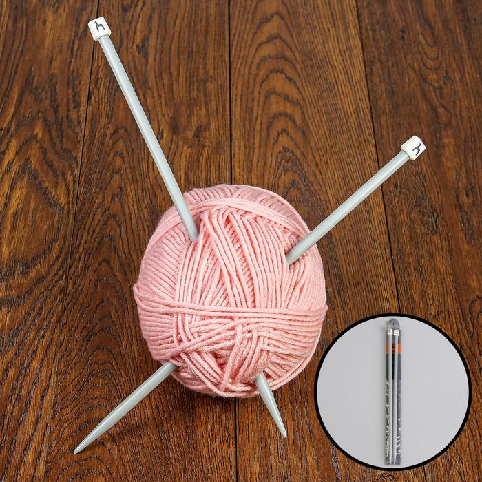 Спицы для вязания, прямые, d = 9 мм, 35 см, 2 шт