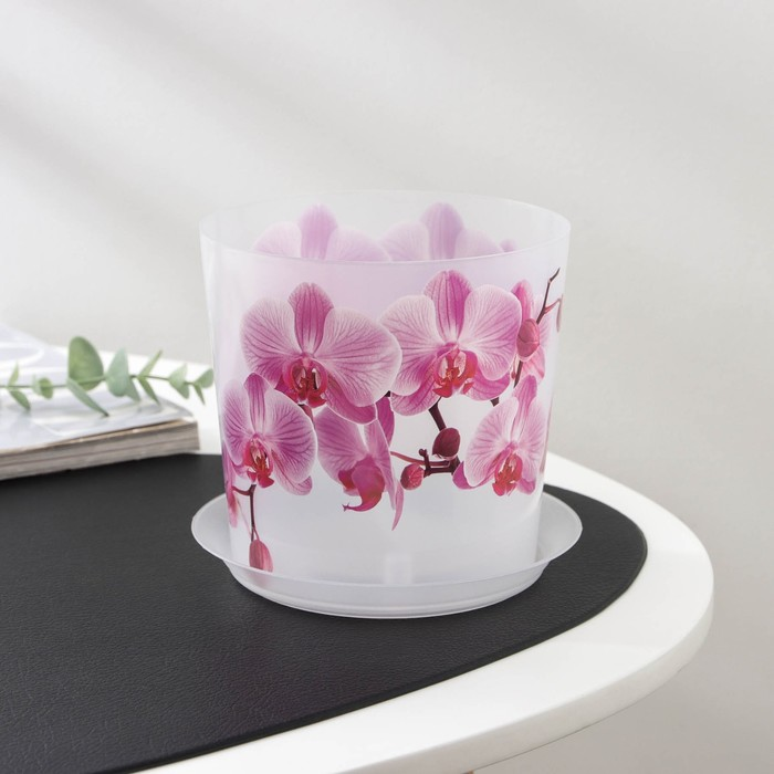 "Кашпо с подставкой 1,2 л ""Деко. Орхидея"" - фото 1694848"