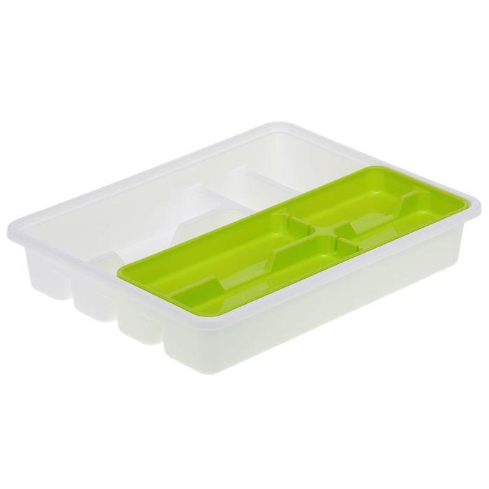 Лоток-вкладыш для столовых приборов, 2 уровня, цвет салатовый