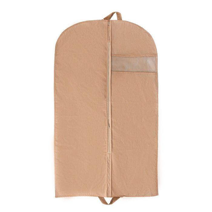 Чехол для одежды, с окном 140×60 см, цвет бежевый