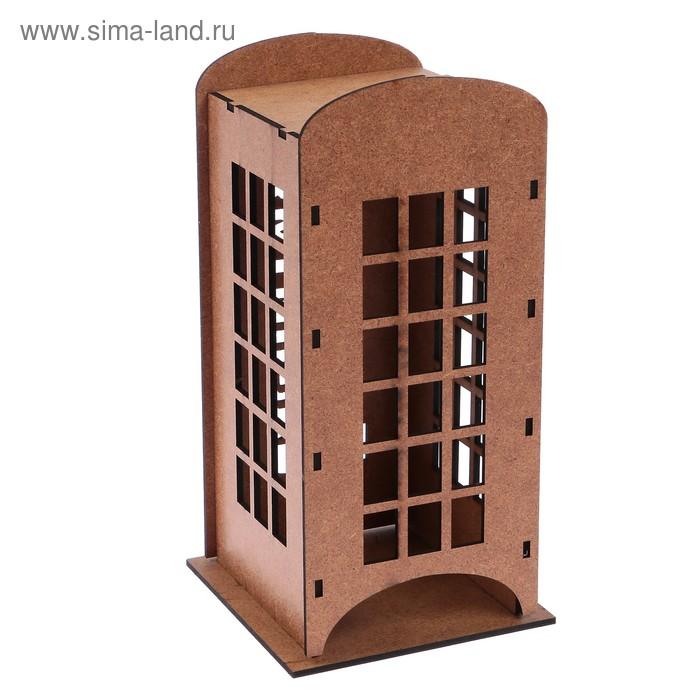 """Заготовка для декора """"Старинная телефонная будка"""" чайный домик, набор 6 деталей"""