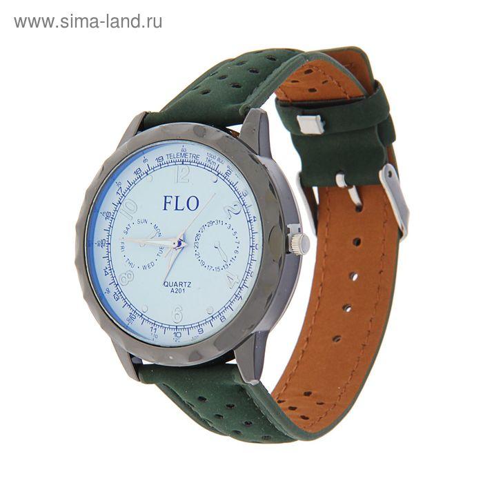 Часы наручные FLO A201, 2 циферблата, ремешок зёленый