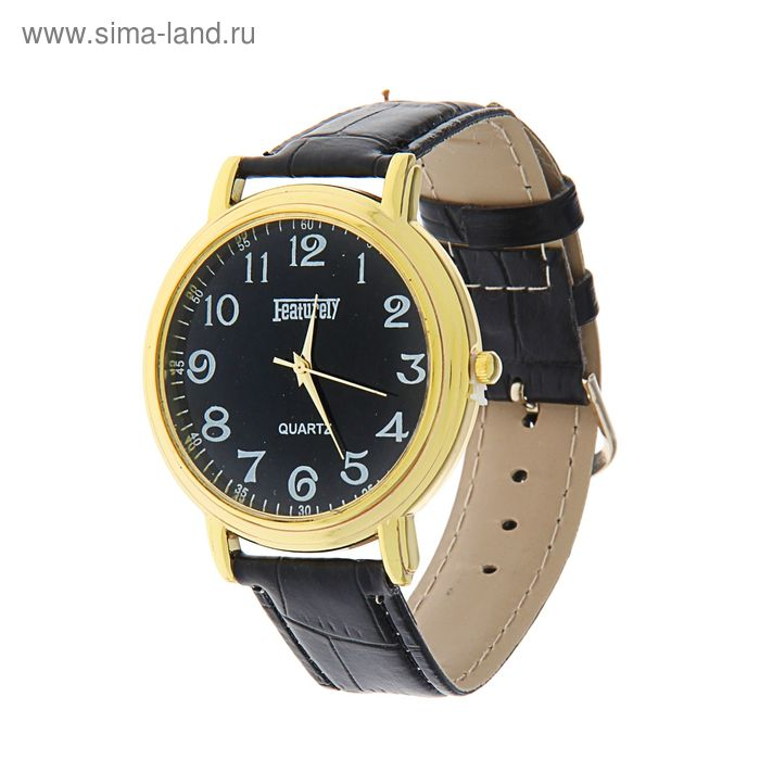 Часы наручные мужские Featurely желтый корпус, черный циферблат