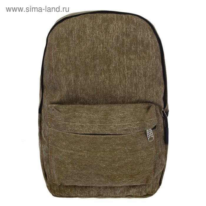 """Рюкзак молодёжный """"Джинс"""", 1 отдел, 2 наружных и 2 боковых кармана, коричневый"""