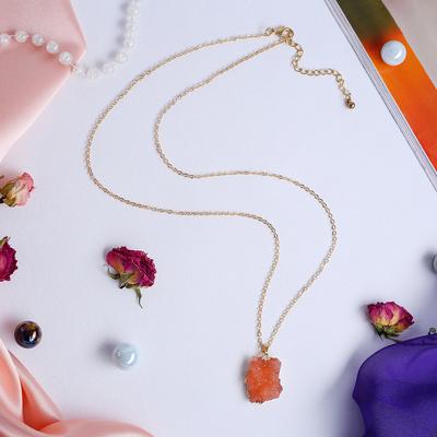"""Кулон """"Натурель фэшн"""" геометрия, цвет розовый в золоте, 70см"""