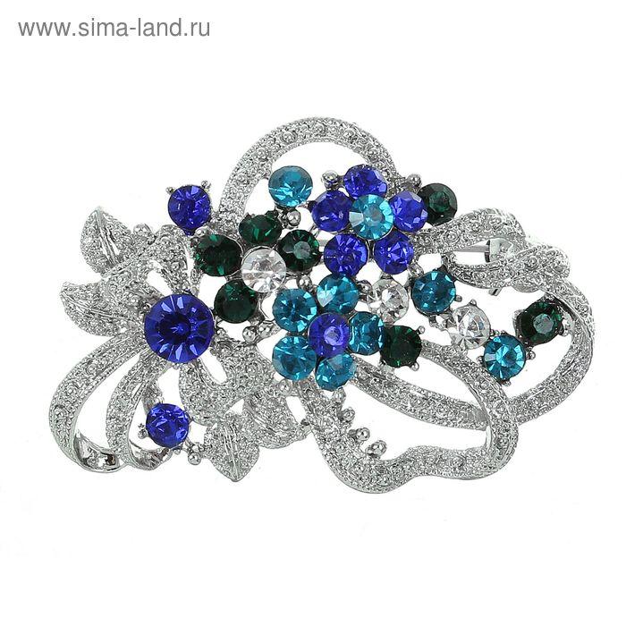 """Брошь """"Цветы в алмазах"""" цвет сине-морской с зелёным в серебре"""