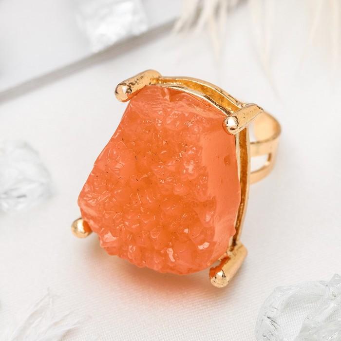 """Кольцо """"Натурель фэшн"""", прямоугольник, цвет розовый в золоте, безразмерное"""