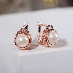 """Серьги с жемчугом """"Эдель"""" круг классика, цвет белый в розовом золоте"""