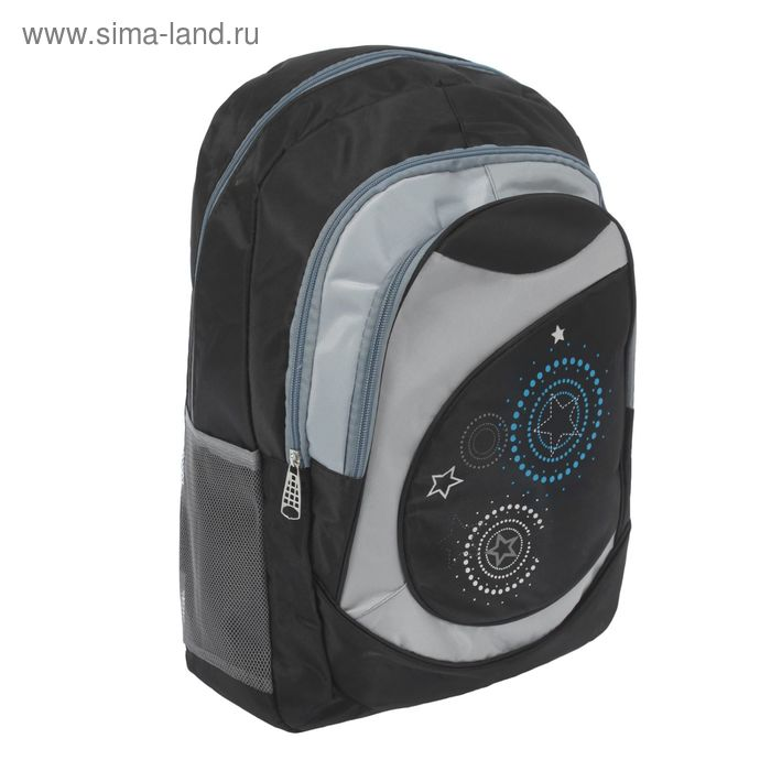 """Рюкзак молодёжный """"Звёзды"""", 1 отдел, 2 наружных и 2 боковых кармана, чёрный"""