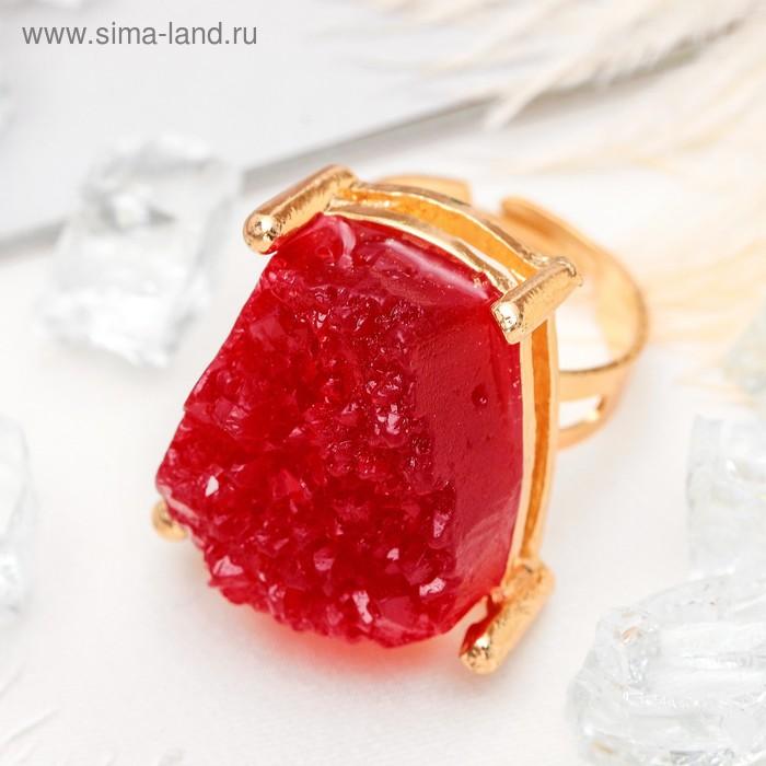 """Кольцо """"Натурель фэшн"""", прямоугольник, цвет ярко-красный в золоте, безразмерное"""