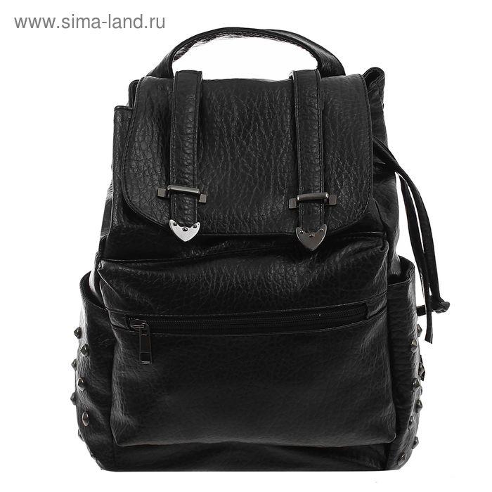 """Рюкзак молодёжный на шнурке """"Рок-н-ролл"""", 1 отдел, 3 наружных кармана, чёрный"""