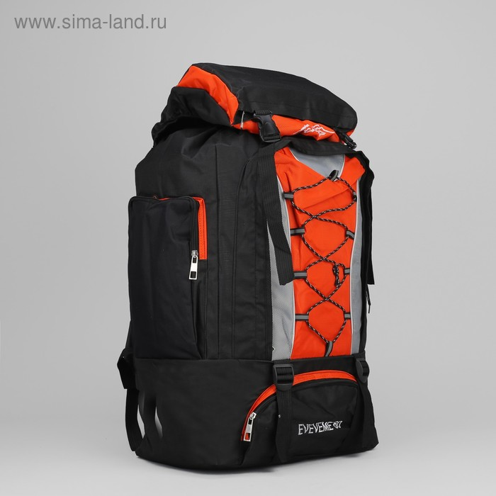 """Рюкзак туристический на молнии """"Шнуровка"""", 1 отдел, 4 наружных кармана, объём - 27л, чёрный/оранжевый"""