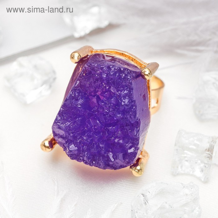 """Кольцо """"Натурель фэшн"""", прямоугольник, цвет фиолетовый в золоте, безразмерное"""