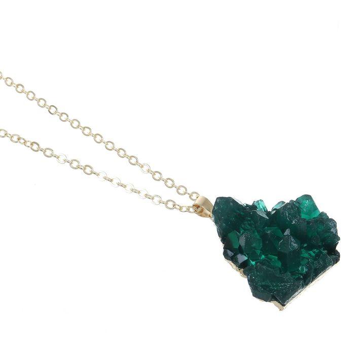 """Кулон """"Натурель фэшн"""" треугольник, цвет изумруд в золоте, 70см"""
