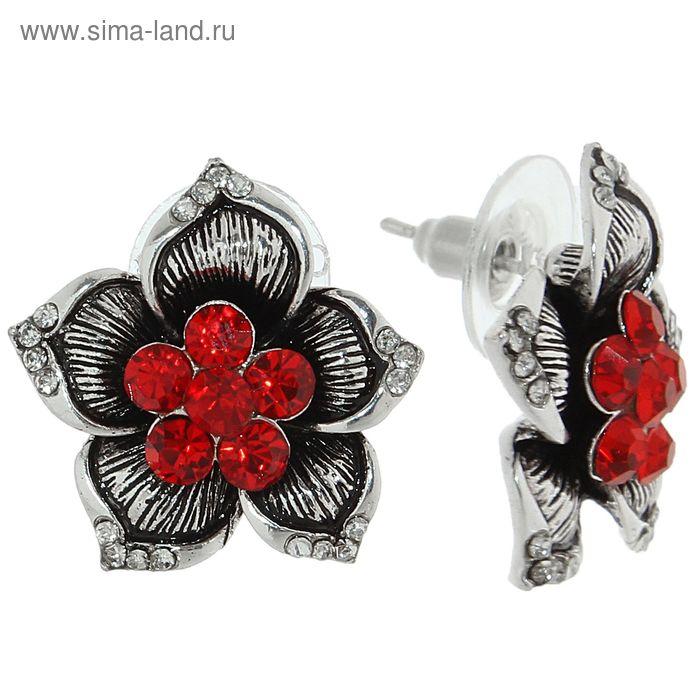 """Серьги со стразами """"Цветок"""", цвет ярко-красный в чернёном серебре"""
